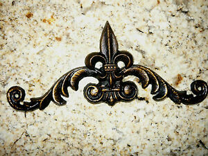 Metal Fleur de Lis, Topper, Wall Plaque, Crown, Pediment, Old World Tuscan Royal