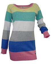 Gestreifte Damen-Pullover mit Rundhals-Ausschnitt aus Baumwollmischung