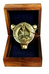 "Ectoria 3"" Sundial Compass - Brass with Wood Box"