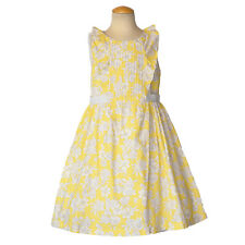 Luli & Me Girls Yellow Gray Floral Dress Size 10 EEUC
