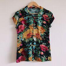 Vintage 90s Floral Top Asain Clasp Button Up