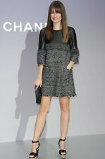 CHANEL AMAZING $7,555.00 LEATHER & FANTASY TWEED DRESS TUNIC SZ F 38 S SMALL