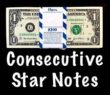 2003A Philadelphia 1$ Consecutive Star Notes BEP Strap Replacement Notes UNC C1