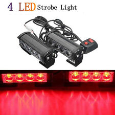 2pcs 12V Car 4LED Emergency Warning Hazard Flash Strobe Grill Light Bar Red