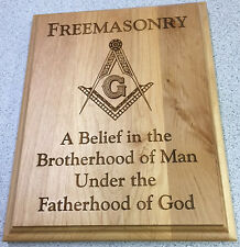 8 x 10 Freemason Laser Engraved Alderwood plaque with Brotherhood of Man saying