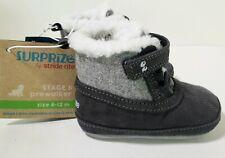Black Gray Shoe Stage 1 Pre Walker Stride Rite Toddler Size 6-12 Fleece Lined