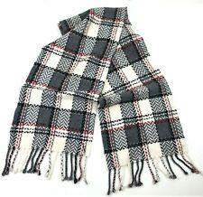 Cashmere by Charter Club Scarf w/ Fringe Plaid White Gray Red Black Soft Cozy