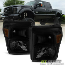 Black Smoke 2011-2016 Ford F250 F350 F450 Super Duty Headlights Left+Right 11-16