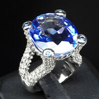 VIOLET BLUE TANZANITE RING OVAL 20.70 CT. SAPPHIRE 925 STERLING SILVER SZ 6.75