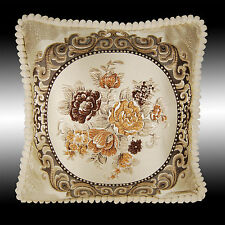CHOCOLATE FLORALS TAPESTRY VELVET THROW PILLOW CASE CUSHION COVER CHAIR PAD 19""