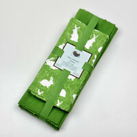Easter Rabbit Bunny Green 4 Ribbed 100% Cotton Placemats & 4 Napkins Set