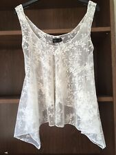 Topshop Cream Beige Sparkly Sequin Lacy Floaty Crop Top Blouse Cover Up Size 10