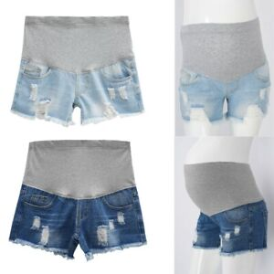 Maternity Distressed Denim Shorts Pregnant Women Jeans Summer Casual Clothing