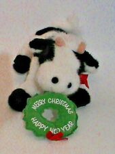 Rare Carlton Cards 12'' Plush Black & White Holiday Bull Cow Happy Moo Year 10""