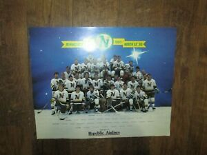 NHL HOCKEY POSTER  MINNESOTA NORTH STARS 1984 1985 Team REPUBLIC AIRLINES Advert