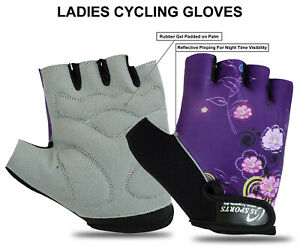 Ladies Cycling Gloves Bike Half Finger New Riding Bicycle Gel Padded Fingerless