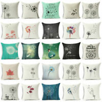 "18"" Cotton Linen Dandelion Pillow Case Sofa Car Waist Cushion cover Home Decor"