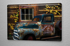 Tin Sign Vintage Car Decoration  rusted car with truck bed broken window Metal P