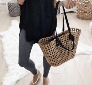 Nordstrom Straw Tote Shoulder Bag Raffia Beach Boho Summer Handbag