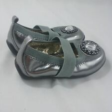 Xhileration Baby Girl Shoes size 5 Silver jewel Golden lining Flashy Dress shoes