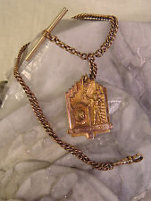POKAGON GOLD FILL WATCH FOB ANTIQUE HJ COINDIAN CHIEF NATIVE AMERICAN ALGONQUIN