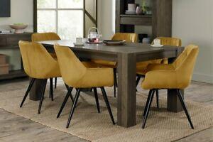 Constable / Sierra Fumed Oak 6 Seater Dining Set- Dali Mustard Velvet Chairs
