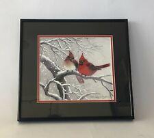 "Cardinals In Love Birds Watercolor On Silk Print W/Certificate 8"" x 9"" Framed C1"