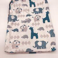 SL Home Fashion SAFARI Baby Blanket Sherpa Blue Giraffe Lion Elephant Lovey