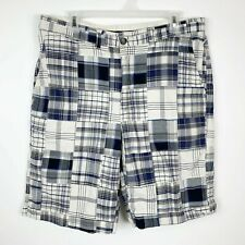 Tommy Hilfiger Mens Size 34 Patchwork Plaid Walking Shorts Blue Gray