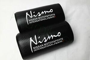 2Pcs Black Nismo Carbon Fiber Vehicles Auto Seat Neck Cushion Pillow Headrests