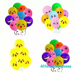 """Set Of 7 Pokemon Theme Pikachu 12"""" Latex Party Balloons Great For Party Fun."""