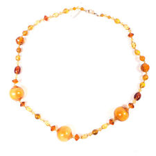 "Vintage Amber Art Bijoux Beaded Murano Beads Necklace 27.25"""