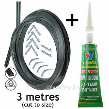 3m Door Seal + Silicone Glue for Beko 3 or 4 Sided Oven Cooker + all Clips