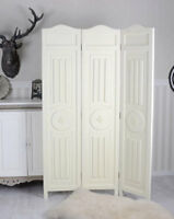 Wood Room Divider Carved Screen Shabby Chic Partition Antique Screen