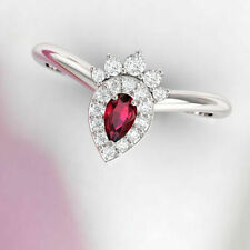 Real 10k White Gold 1.50 Ct Pear Cut Red Ruby & Diamond Engagement Curved Ring