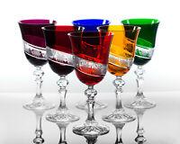 Box of 6 Hand Cut 24% Lead Large Wine Crystal Glasses 220ml Kristallgläser