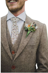 Brown Men's Suit Tweed Check Tan Party Prom Groom Tuxedos Wedding Vintage Suits