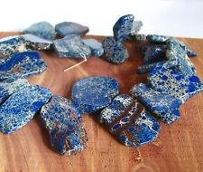 "15"" Aqua Terra Impression Jasper royal blue slab freeform beads top drilled"
