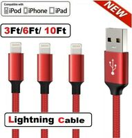 For iPhone 6 7 8 Plus XR XS X Braided 3/6/10Ft USB Lightning Charger Cable Cord