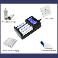 4-Slot Smart LCD USB Battery Charger 18650 26650 AA AAA C D Li-ion NiMH Revive·