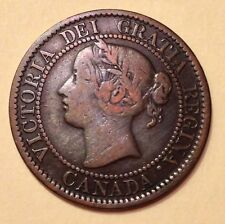 Canada 1859, Victoria, 1C/One Cent Coin, Die Crack On A Leaf, Canadian Vintage