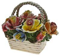Capodimonte Multicolor Rose Bouquet Basket With Handle