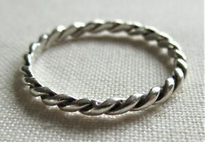 STERLING SILVER ROPE TWIST STACKER RING SIZE M DAINTY 925 0.91g (21044)