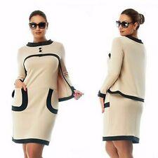 Plus Size Women Stylish False Two Pieces Long Sleeve Casual Short Mini Dress D15