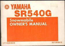 1983 YAMAHA SR540G SNOWMOBILE OWNERS MANUAL LIT-12628-00-49    (422)