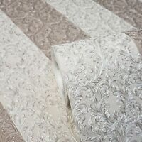Wallpaper striped Victorian damask pink pearl cream metallic stripes Textured 3D
