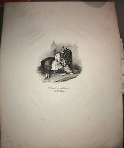L'ARABE ET SON COURSIER. GRAVURE d'après CHARLET vers 1830.