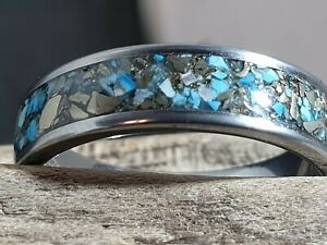 Tungsten Turquoise And Pyrite Ring