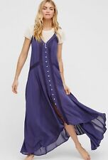 Anthropologie Intimately Free People Kimmi Maxi Slip Button Down Lace Dress S