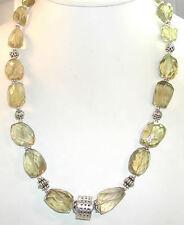 Statement Lemon Quartz Necklace Sterling Silver Handmade Wedding Mother of Bride